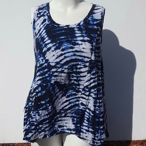 Willi Smith | Blue Tie Dye Tank Top Plus Size 1X